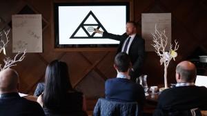 Tougher Minds Director Jon Finn presents to a team of HSBC Regional account managers.