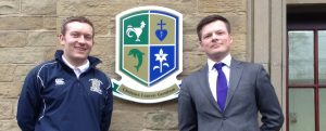 Tougher Minds Head of Education Andrew Foster (right) meets with St Bede's teacher Mr. Liam King.
